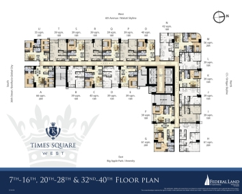 7th-16th,20th-28th, 32nd-40th Floor Plan